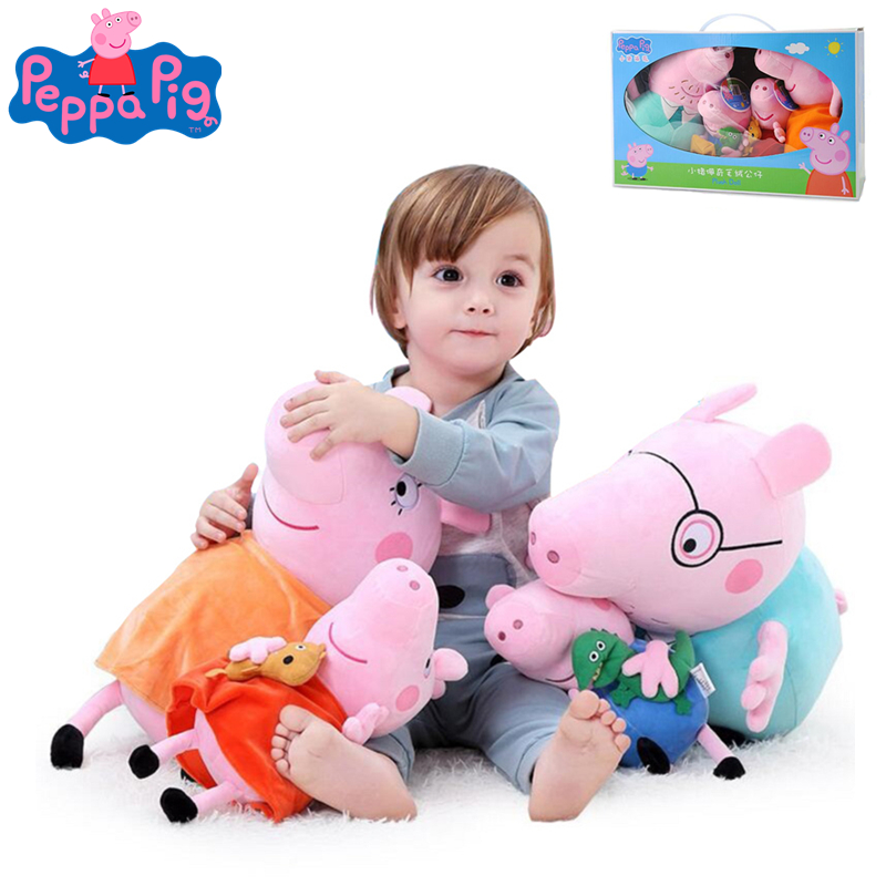 Original 4Pcs/set Peppa Pig 19/30cm George Animal Stuffed Plush Toy Friend Pink Pig Family Party Dolls For Girl Children Gift