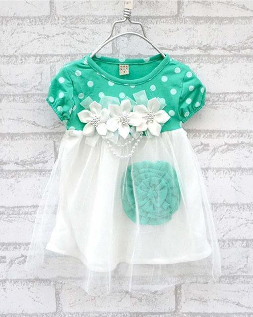 Venta caliente de los bebés dress 4 colores el bebé recién nacido princesa dress floral dot baby girls ropa