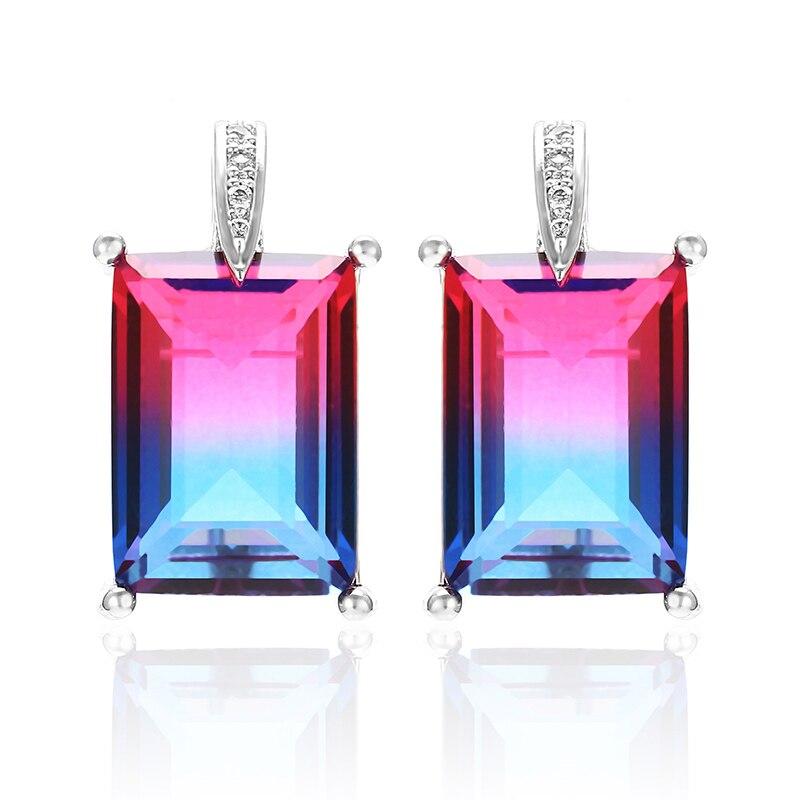 XIUMEIYIZU Multicolor Tourmaline Classic Fashion Square stud earrings women party jewelry