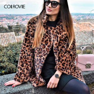 Image 5 - COLROVIE הדפס מנומר Streetwear חורף פו פרווה מעיל מעיל נשים בגדי 2018 סתיו אופנה משרד חם גבירותיי הלבשה עליונה