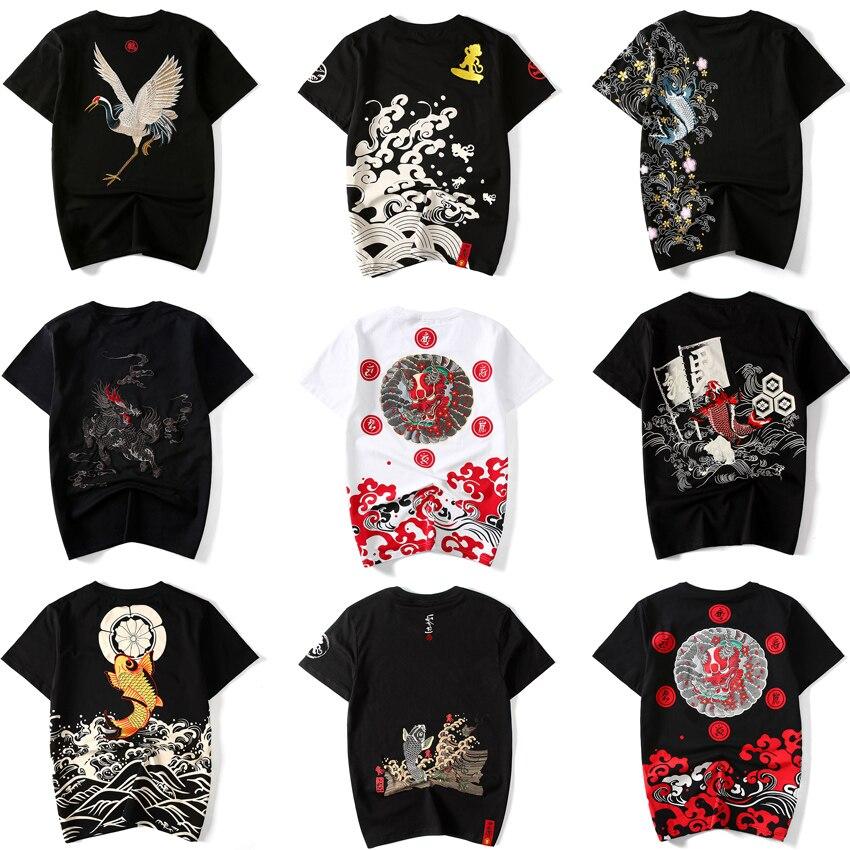 17Colors Men Japanese Harajuku Style Kimono T-shirt Round Neck Cotton Tops For Women Couple's Clothing Chinese Ukiyo Tees