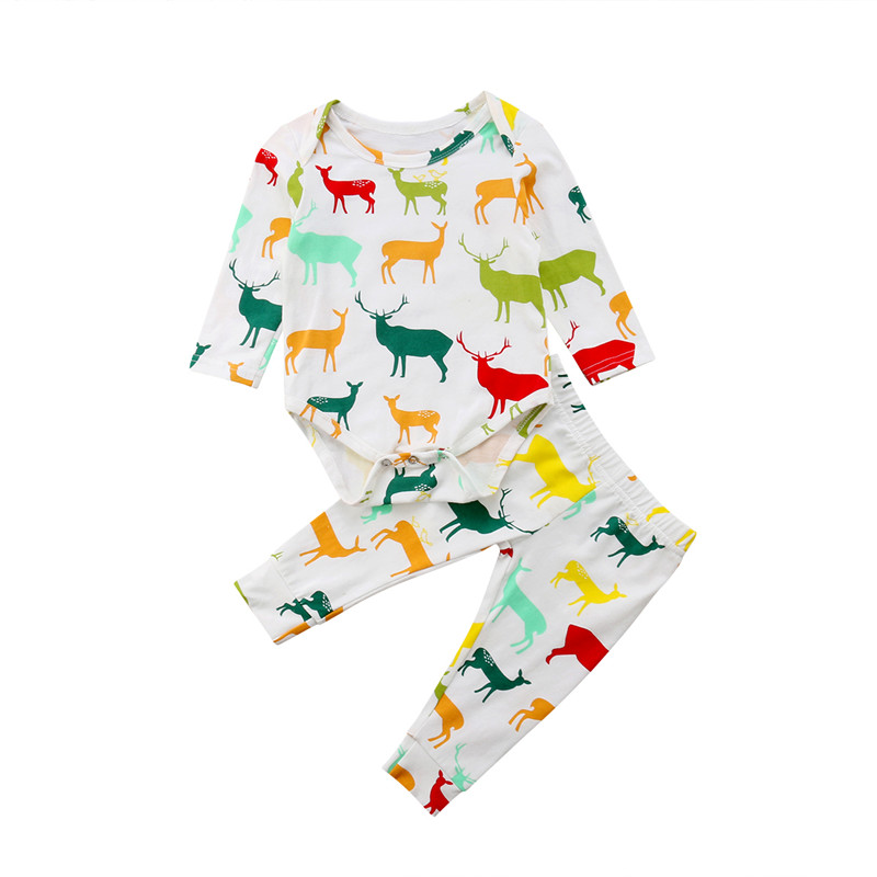 2Pcs Newborn Baby Boy Girl Autumn Clothes Casual Baby Boys Girls Long Sleeve Tops Romper Long Pants Colorful Elk Pattern Outfits