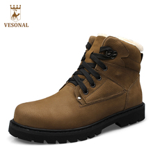 VESONAL Winter Fur Non Slip Snow Boots Men Shoes Casual Brand Quality Genuine Leather Rubber Warm Ankle Boot Man Big Size 38-48