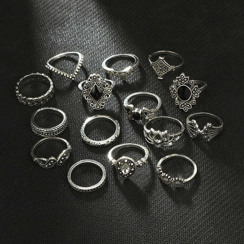 15pcs/Set Bohemian Vintage Women Mid Ring Set Flower Crown Rhinestone Joint Knuckle Nail Ring Set for Women Jewelry Gift