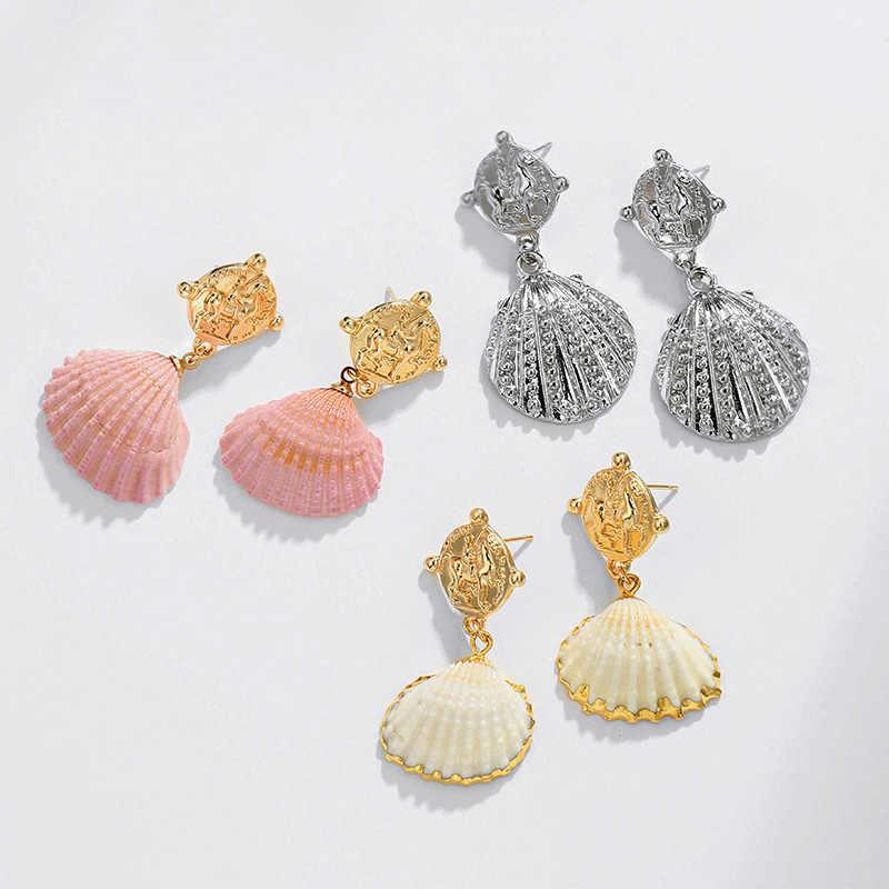 Colorido teñido Natural de concha, pendientes para las mujeres de Color oro 2019 joyería de moda de verano conchas de mar pendiente de mujer regalo