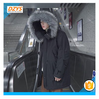 DEYS ZF Detachable Fur Collar Winter Cold Long Cotton Jacket Hooded Loose Coat