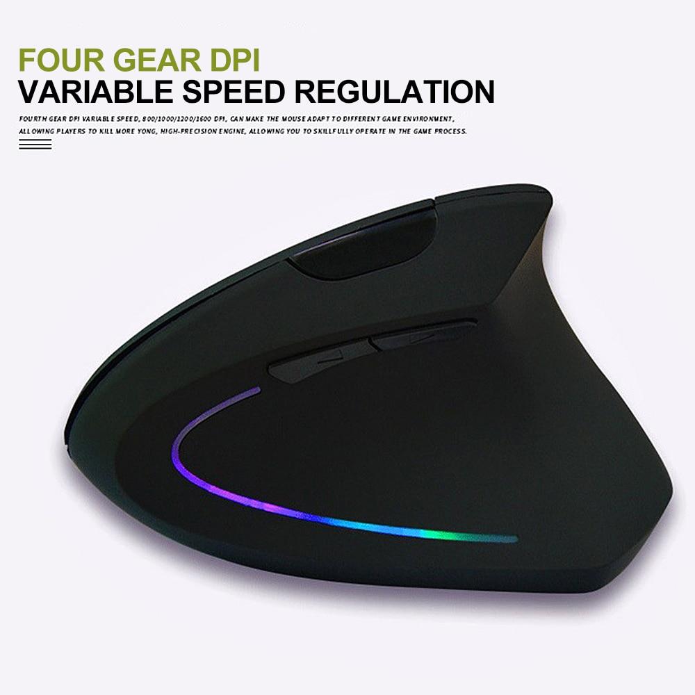Новая эргономичная оптическая беспроводная мышь 2,4G 800/1200/1600DPI, цветной светильник, запястье, исцеление, вертикальная мышь, игровая мышь, гейм...