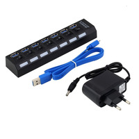High Speed Thin 7 Ports USB 3 0 Hub With On Off Switch AC Power Adapter