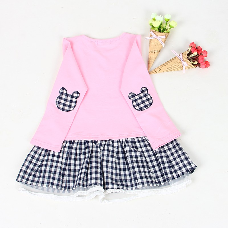 Bear Leader Girls Dress 2017 Spring Casual Style Baby Girl Clothes Long Sleeve Cartoon Bunny Print Plaid Dress for Kids Clothes 27