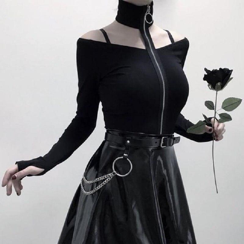 Dark Fashion   T  -  Shirts   Women Punk Street Hip-Hop Collar Off-Shoulder Zipper Long-Sleeved Pastel Goth Tops Tee Female