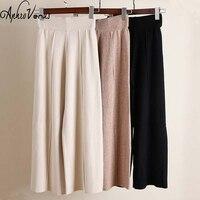 2018 Autumn Winter Trousers Women Pants Knit Wide Leg Pants Female Straight Long Pants Version Thicken OL Wear High Waist Pants