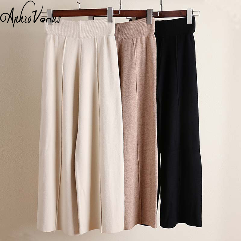 2018 Autumn Winter Trousers Women   Pants   Knit   Wide     Leg     Pants   Female Straight Long   Pants   Version Thicken OL Wear High Waist   Pants