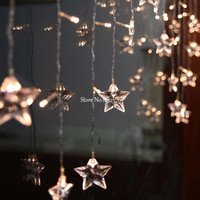 Multi Color 4M 100 LED Star Curtain String Lights Garlands Christmas Xmas Holiday Wedding Party Garden
