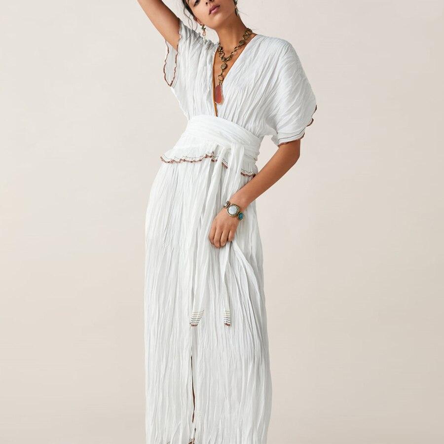 Boho été robe v-cou blanc femmes robe à manches longues décontracté coton contraste garniture robes pour vacances taille haute Vestidos nouveau