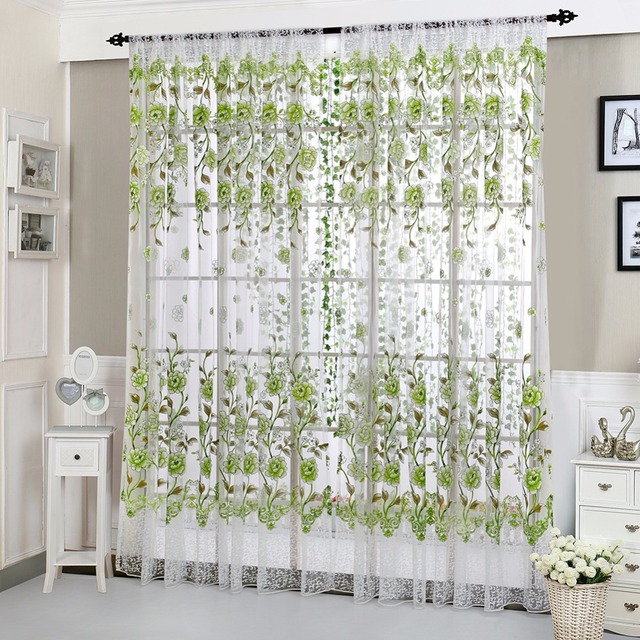 House Office Fashion Window Curtain Flower Print Divider Tulle Voile Drape  Panel Sheer Scarf Valances