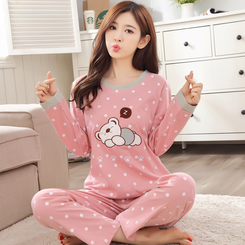 NEW Adult Women Girl Cartoon Cute Bear Dots Cotton Pajama sets Long-sleeved Spring Autumn Sleepwear Suit Pyjamas sets M XXL