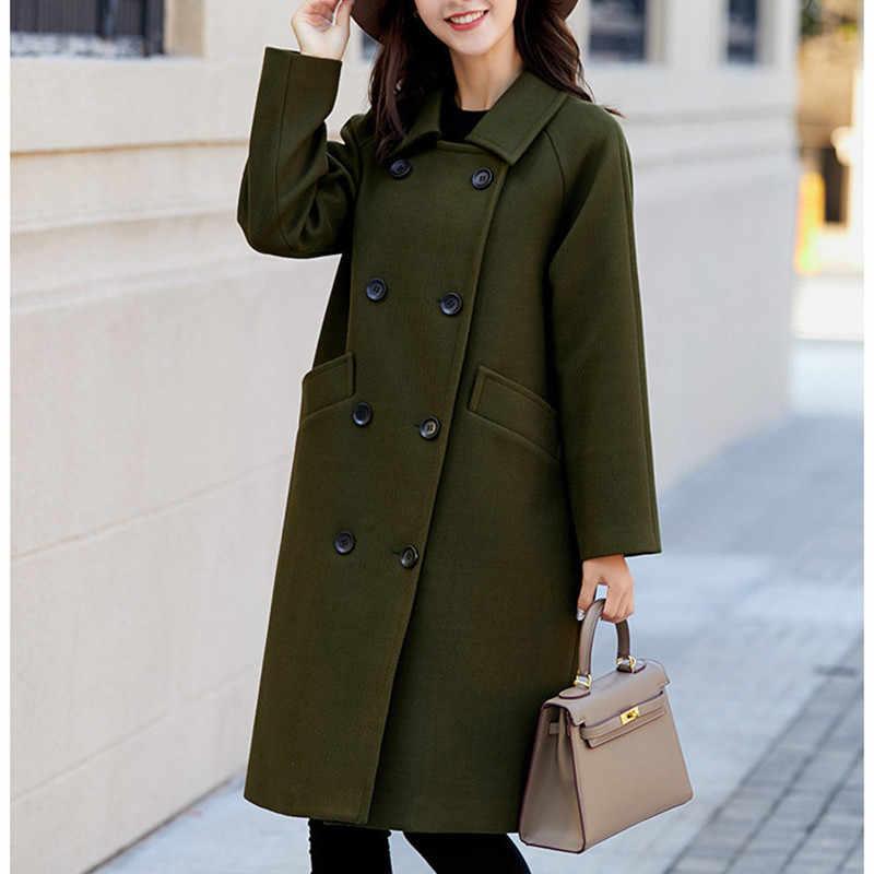 2018 Winter Women Korean Style Coat Casual Fashion Wool Pockets Elegant Ladies Long Coat