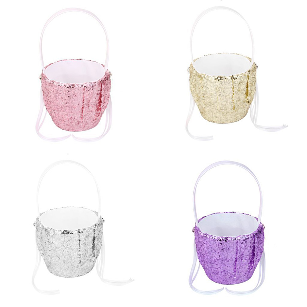 Fashion Sequin Wedding Flower Girl Basket Flower Basket