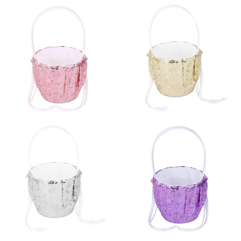 Fashion Sequin Wedding Flower Girl Basket Flower Basket