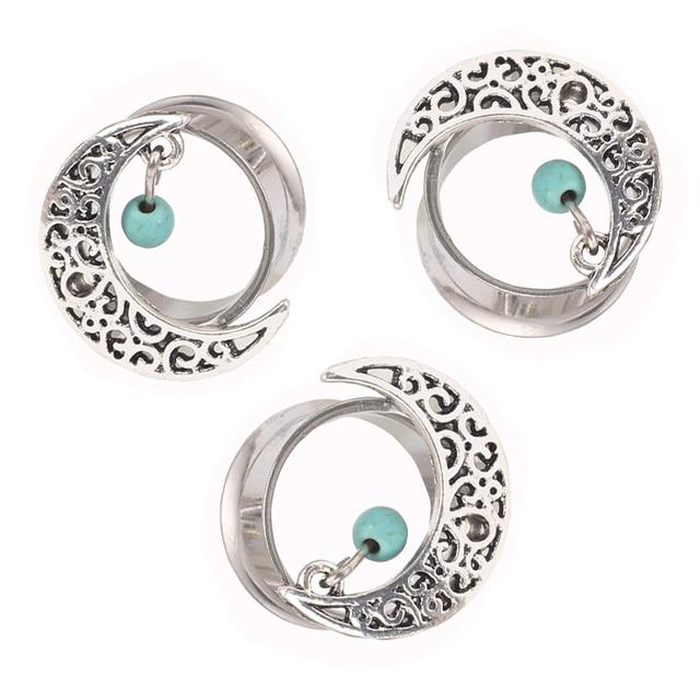 316l Stainless Steel Dreamcatcher Dangle Flare Ear Plug Gauge Tunnel Body Moon Expander Piering Jewelry