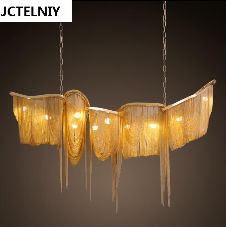 Nouveau luxe grande chaîne gland lampe suspension LED or/argent personnalisable en aluminium