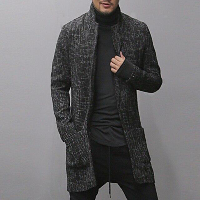 2017 Для мужчин на осень-зиму новый черный серый смешанный цвет грубой кардиган мужчин Slim Мода хлопок европейский стиль длинное пальто фирменный дизайн
