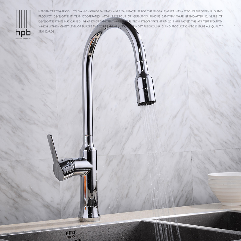 HPB Brass Pull Out Spray Rotary Brushed Kitchen Faucet Sink Mixer Tap Single Handle Deck Mounted Hot And Cold Water HP4114 new arrival kitchen faucet brass wall mounted black oil brushed hot and cold single lever kitchen sink faucet basin faucet mixer