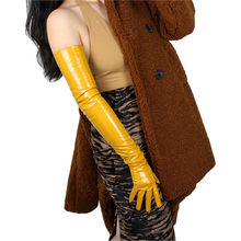 Woman Gloves Patent Leather Long Style 70cm Ginger Yellow Simulation PU Female Dance Party Bright P74
