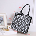 Free Shipping New 2017 Casual PVC Waterproof Shopping Bags Black White Women Handbags Shoulder Bags Shopping bag HL042