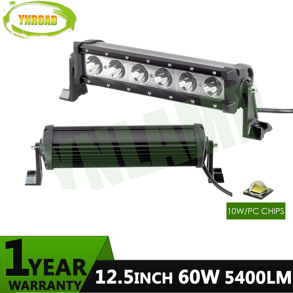 YNROAD 60w 12.5inch10W leds single row Led Light Bar work light Driving Offroad Light Spot/flood for ATV SUV 4x4