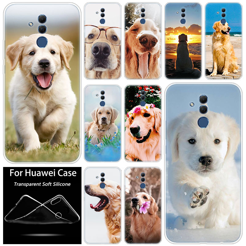 Hot Cute Golden Retriever <font><b>Dogs</b></font> Soft Silicone <font><b>Case</b></font> for <font><b>Huawei</b></font> Mate 10 20 Lite Pro <font><b>Y7</b></font> Y9 Prime <font><b>2019</b></font> Y5 <font><b>2019</b></font> Y6 Prime 2018 Y5 2017 image