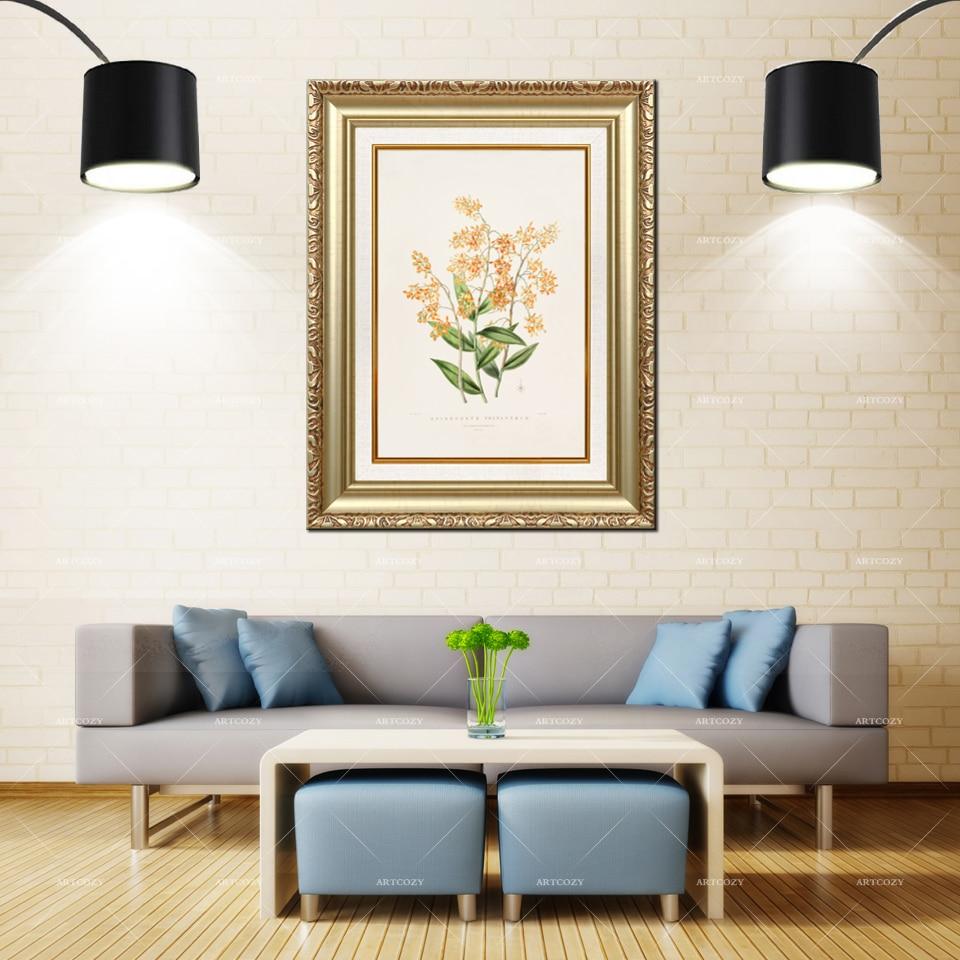 Artcozy Goldene Rahmen Abstrakte Wand Kunst Orchidaceae Blume Wasserdichte Leinwand Malerei