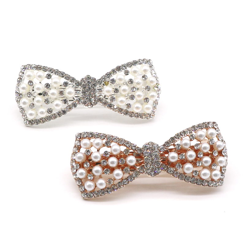 Pcs Fashion Women Girls Crystal Rhinestone Bow Hair Clip Beauty Hairpin Barrette