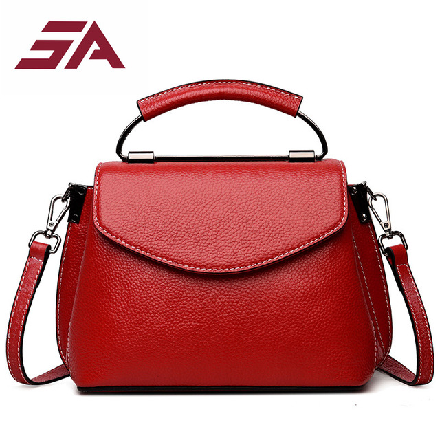 Sa Genuine Leather Bags Women Messenger Small Shell Purses Handbags Famous Brands Spring