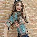 XS-3XL Nueva Primavera Camisa de Algodón de Las Mujeres 2017 Otoño Invierno de La Moda Clásica A Cuadros Cepillado de manga Larga Delgada Floja Tops Camisa de la muchacha