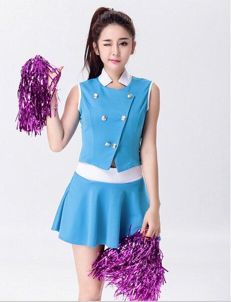 Size S-2XL High School Glee Style Cheerleading Varsity Blue Cheerleader Girl Uniform Costume Outfit