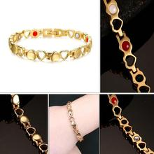 Fashion Magnets Bracelet Men Health Magnetic Stainless Steel Womens Mens Bracelets Heart Shape Couples Wristbands