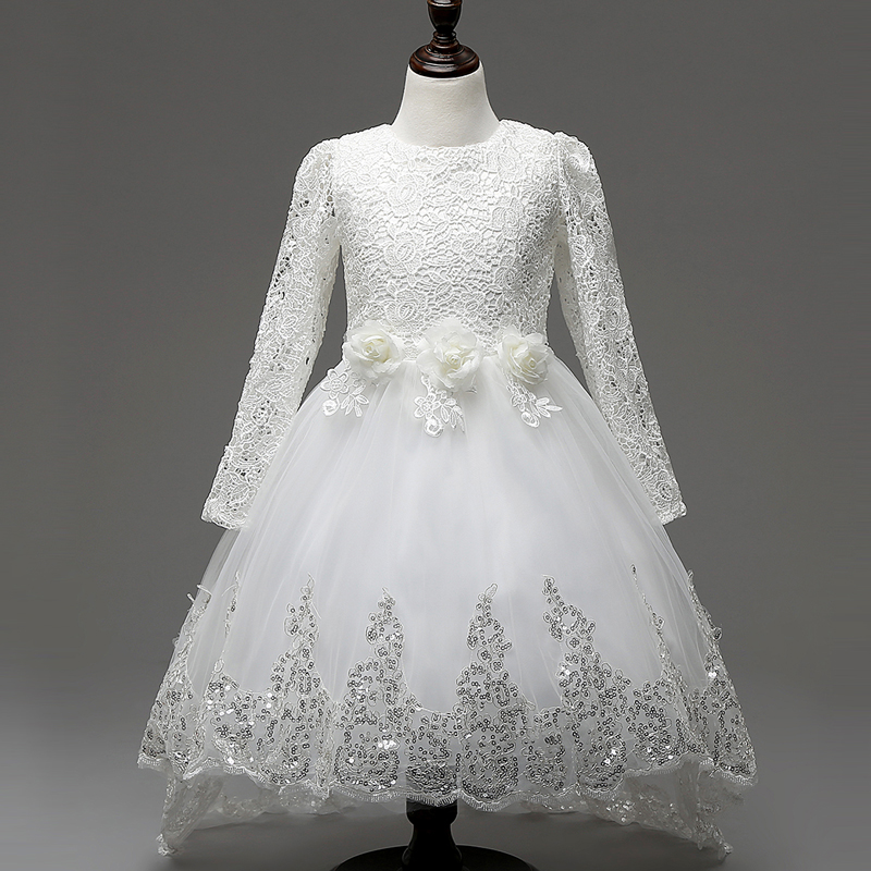 Kids Formal Wedding Dress Girl Full long Sleeve Sequin Lace Princess Flower Dresses Teenage Girls Clothing tutu Gown White Color