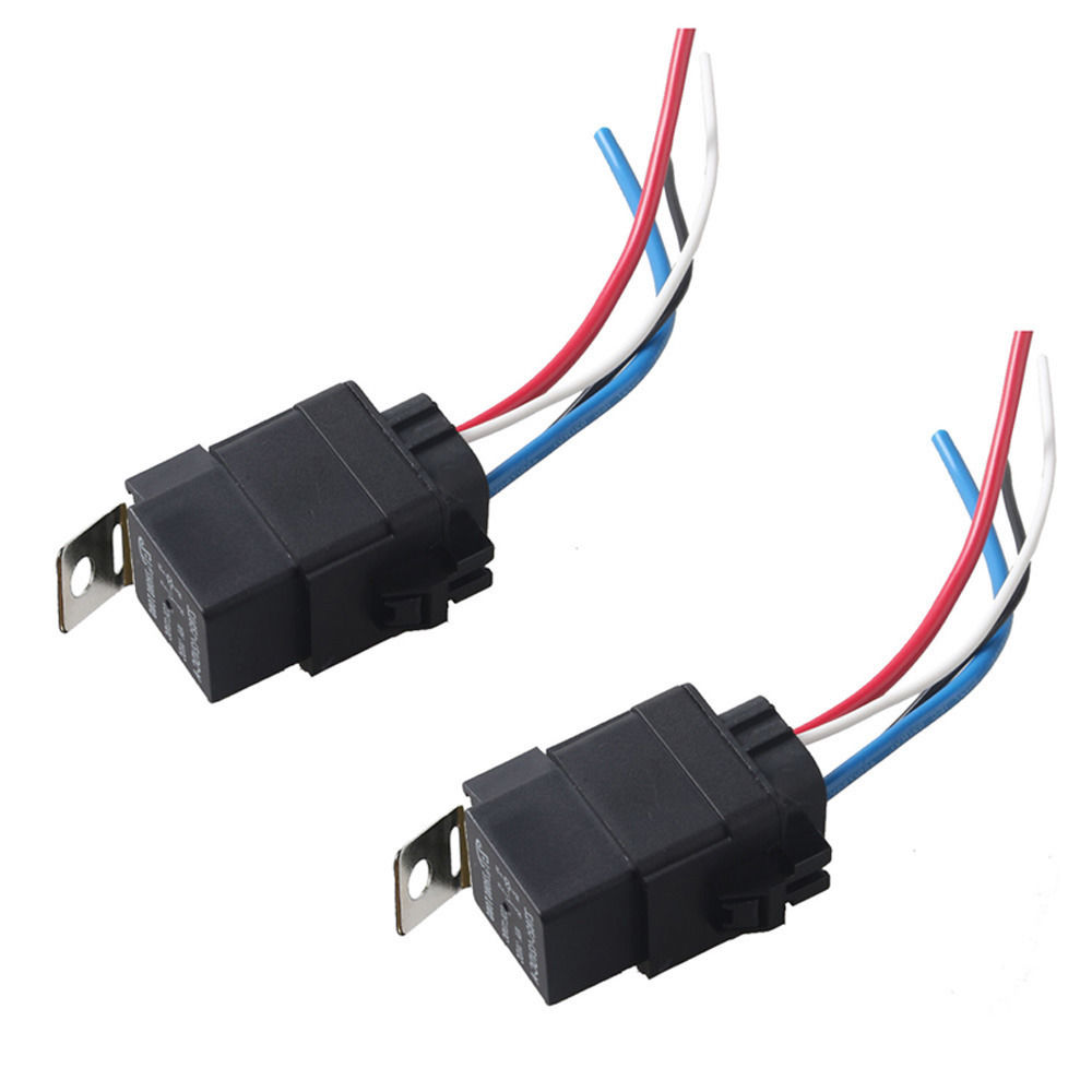 Ee Support 2pcs Car 12v 40a Spst Relay Socket Plug 4pin 4 Wire Waterproof Seal Iron Kit Xy01