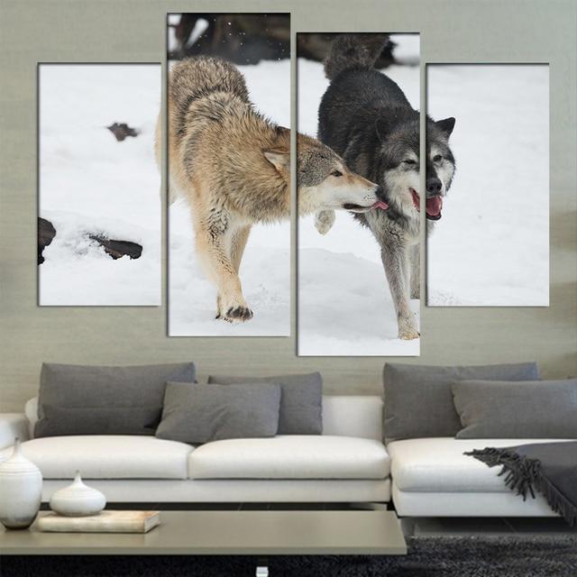 4 Unids/set Enmarcada Animales Lobos Pareja Haciendo El Amor En la ...
