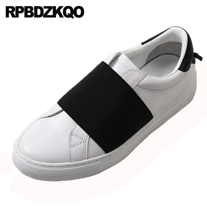 Round Toe Women 2018 Brand Slip On Ladies Sneakers Genuine Leather Designer Shoes China Flats Trainers Celebrity Black And White цена 2017