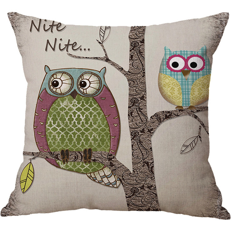 Beautyhouse wholesale wedding gift pillow cover London retro owl branch decorative cushion cover car home sofa party pillow case in Cushion Cover from Home Garden