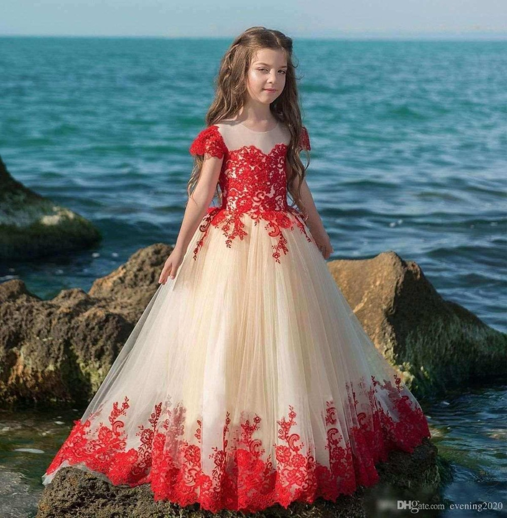 vestido primera comunion 2018 Latest A Line Lace Appliques Short Sleeve Kids Wear For Weddings Pageant Flower Girls Dresses in Flower Girl Dresses from Weddings Events