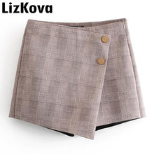 fdef21ada5 Verano rejilla pantalones cortos faldas de cintura alta Falda pantalón  botón OL estilo Irregular 2019 de