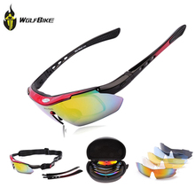 WOLFBIKE Men MTB Road Mountain Cycling Bicycle Bike UV400 Sports Sun Glasses Eyewear Racing Goggles Polarized Sunglasses 5 Lens