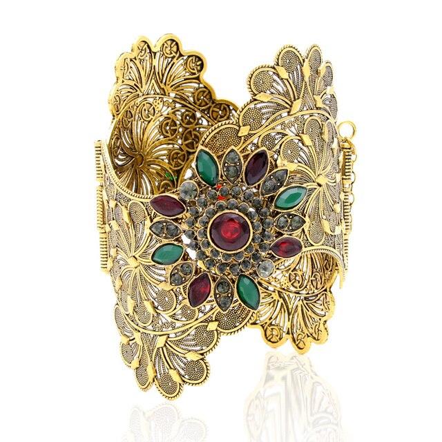 Vintage India Women Bracelet Armlet Wavy Edge Plus Size Bangle Open Type Roma Flower Gold Color