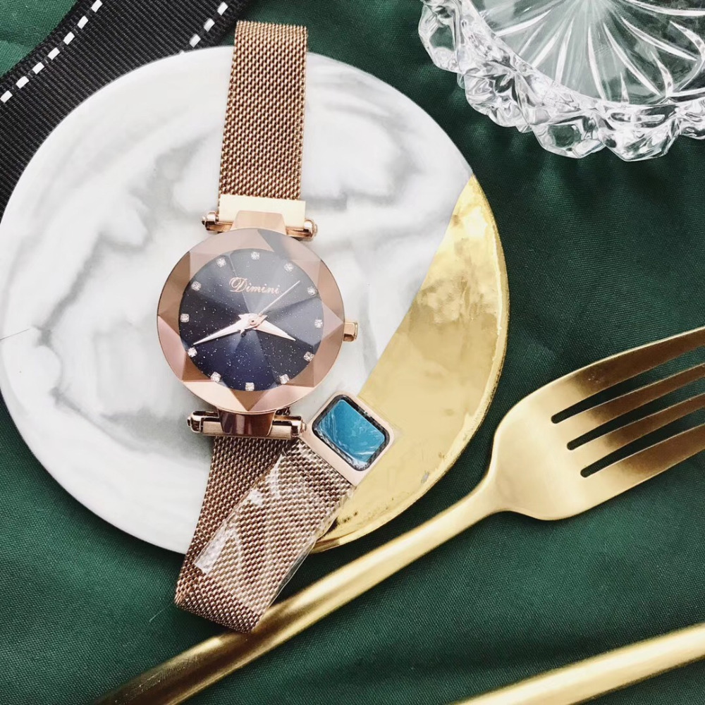 Brand Classic Women Rose Gold Milanese Watches Magnet Ultra-thin Bracelet Watch Quartz Multi Faceted Crystal Star Wrist Watch