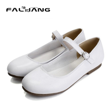 Sweet School Grils Womens Round Toe Flat Ballet Boat Shoes Ankle Strap Plus Size EUR35-43