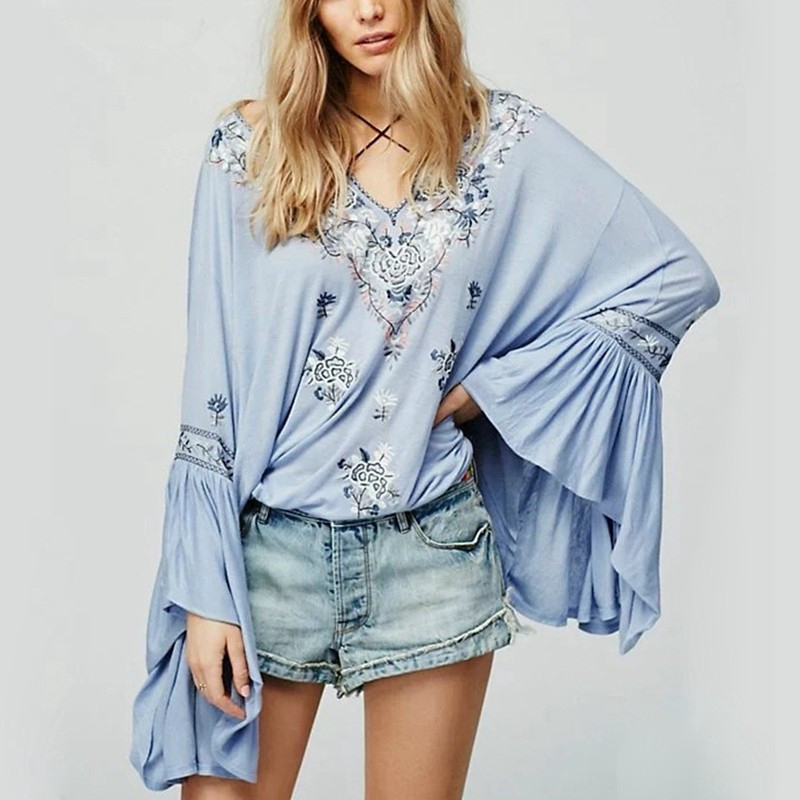 2017 Autumn Vintage Cotton Embroidery Deep V Neck Long Puff Flare Ruffles Sleeve Blusas Beach font