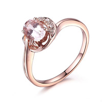 HELON Solid 10K Rose Gold Certified Oval Cut 7x5mm Genuine Morganite Diamonds Ring Engagement Ring Women Weddinng Gift Jewelry